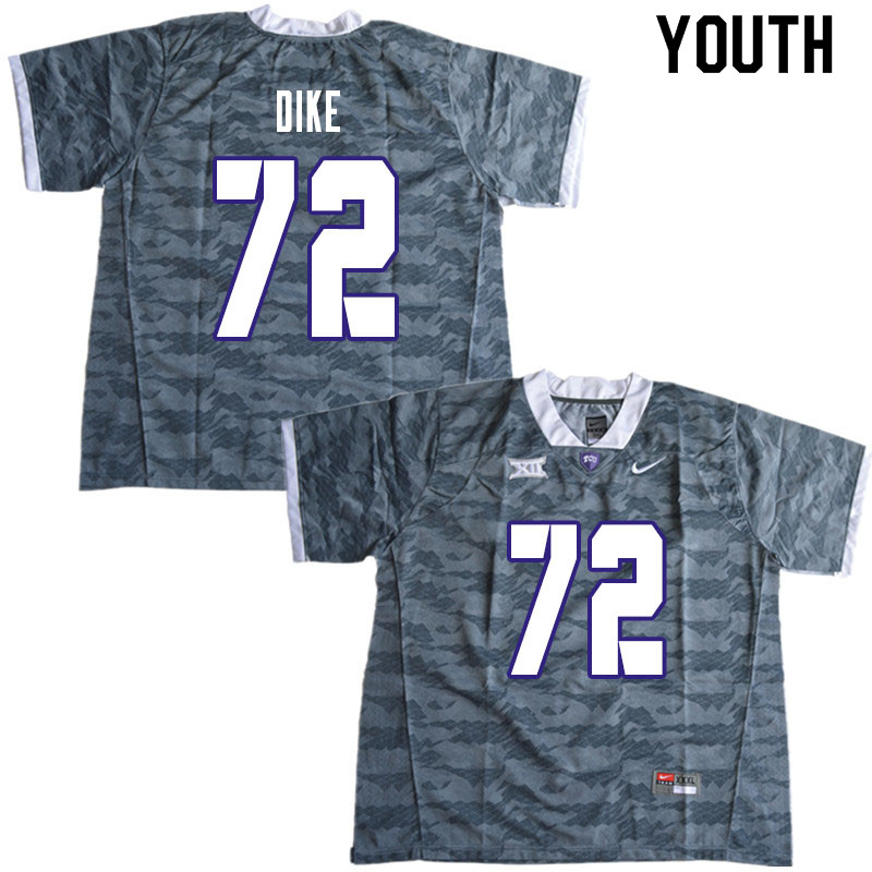 Youth #72 Kris Dike TCU Horned Frogs College Football Jerseys Sale-Gray