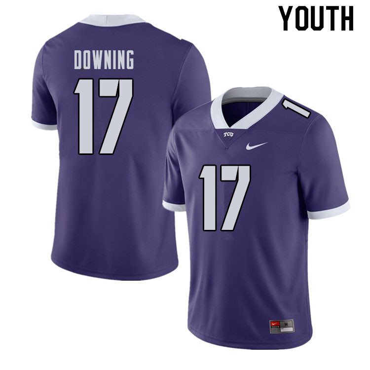 Youth #17 Matthew Downing TCU Horned Frogs College Football Jerseys Sale-Purple