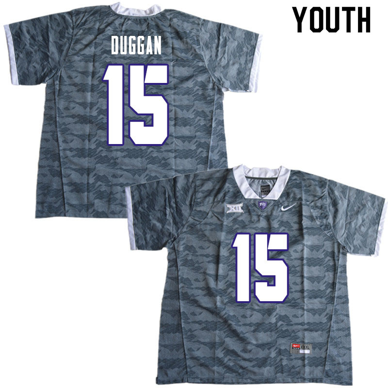 Youth #15 Max Duggan TCU Horned Frogs College Football Jerseys Sale-Gray