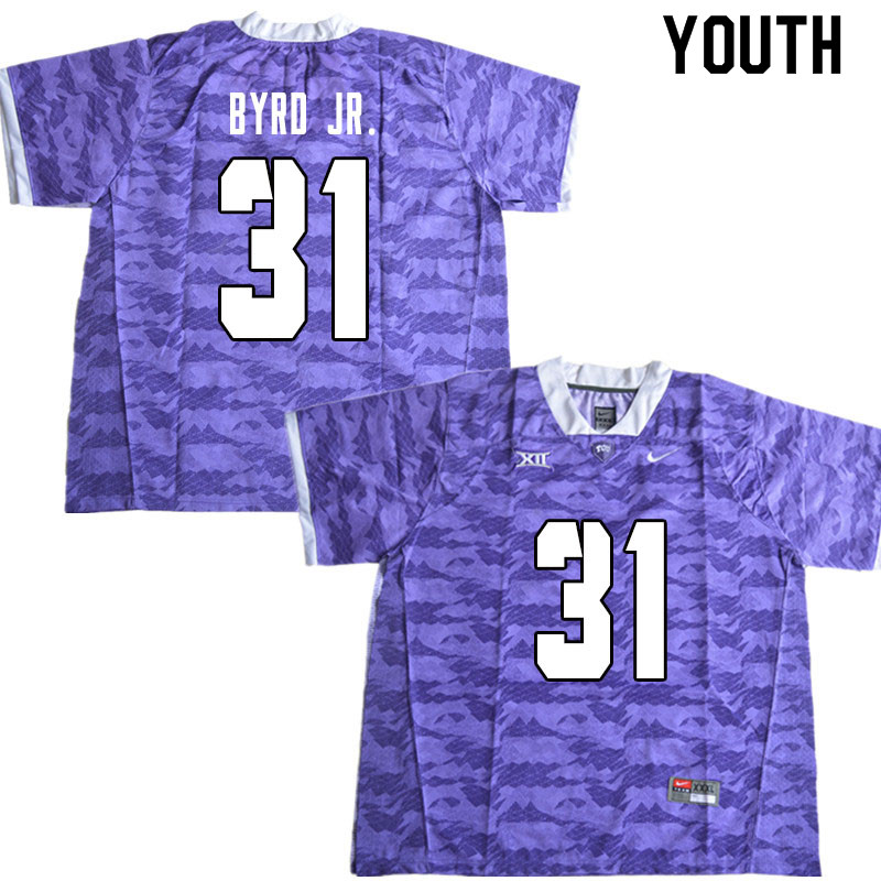Youth #31 Michael Byrd Jr. TCU Horned Frogs College Football Jerseys Sale-Limited Purple