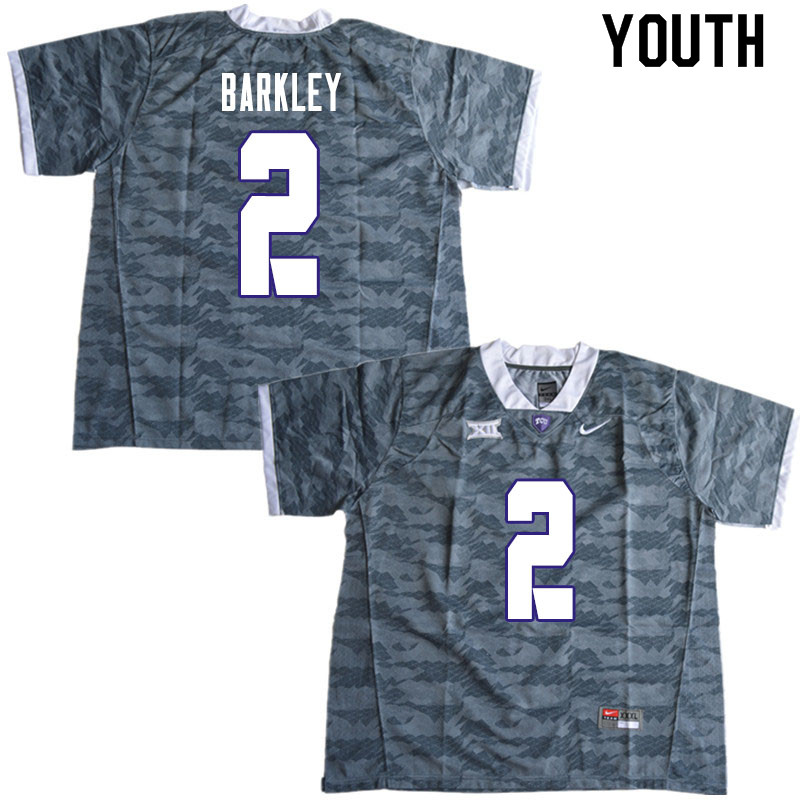 Youth #2 Mikel Barkley TCU Horned Frogs College Football Jerseys Sale-Gray