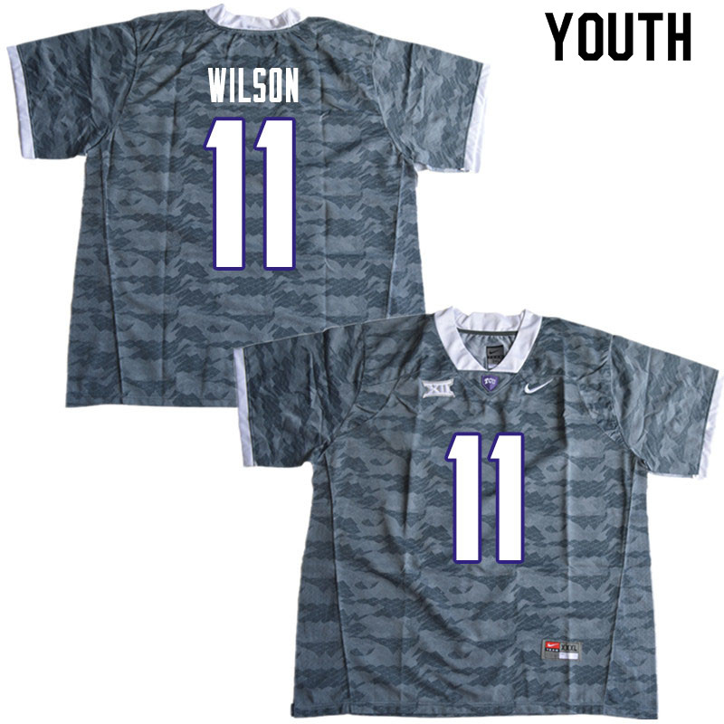 Youth #11 Montrel Wilson TCU Horned Frogs College Football Jerseys Sale-Gray