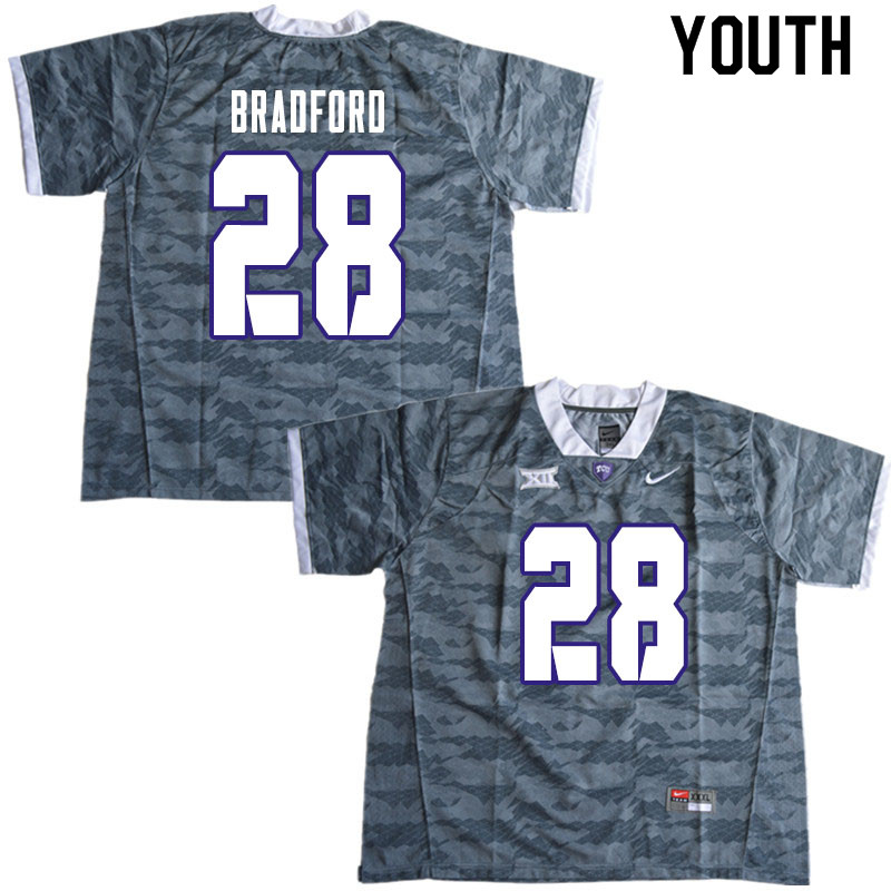 Youth #28 Nook Bradford TCU Horned Frogs College Football Jerseys Sale-Gray