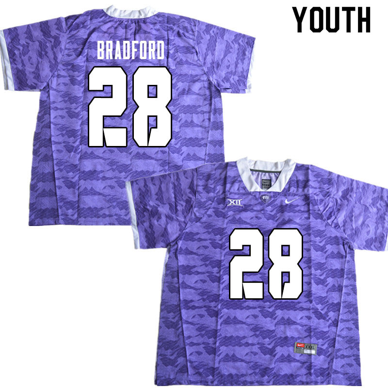 Youth #28 Nook Bradford TCU Horned Frogs College Football Jerseys Sale-Limited Purple