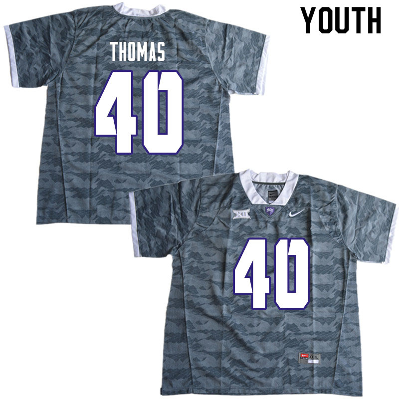 Youth #40 Ray Thomas TCU Horned Frogs College Football Jerseys Sale-Gray