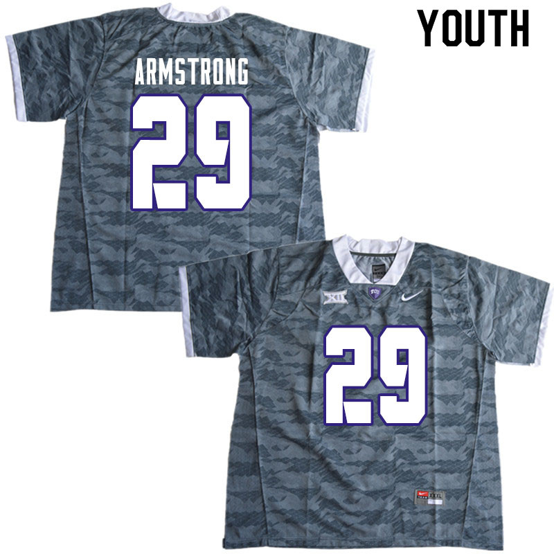Youth #29 Thomas Armstrong TCU Horned Frogs College Football Jerseys Sale-Gray