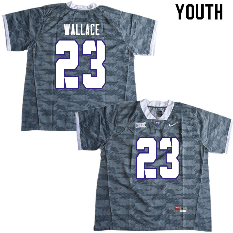 Youth #23 Tony Wallace TCU Horned Frogs College Football Jerseys Sale-Gray