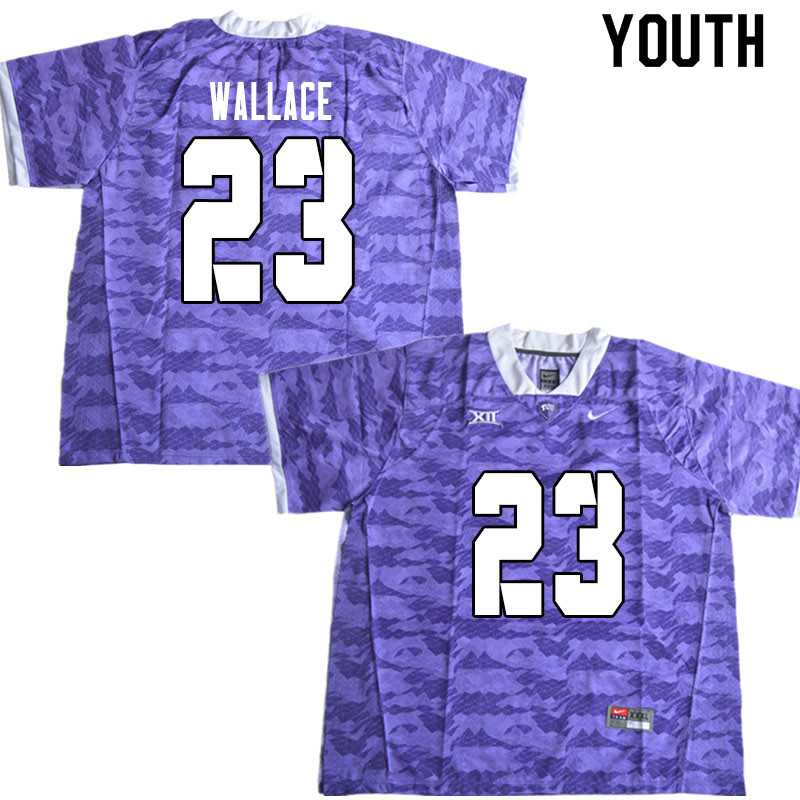 Youth #23 Tony Wallace TCU Horned Frogs College Football Jerseys Sale-Limited Purple