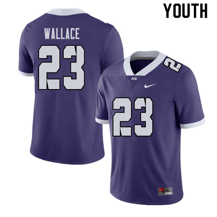 Youth #23 Tony Wallace TCU Horned Frogs College Football Jerseys Sale-Purple
