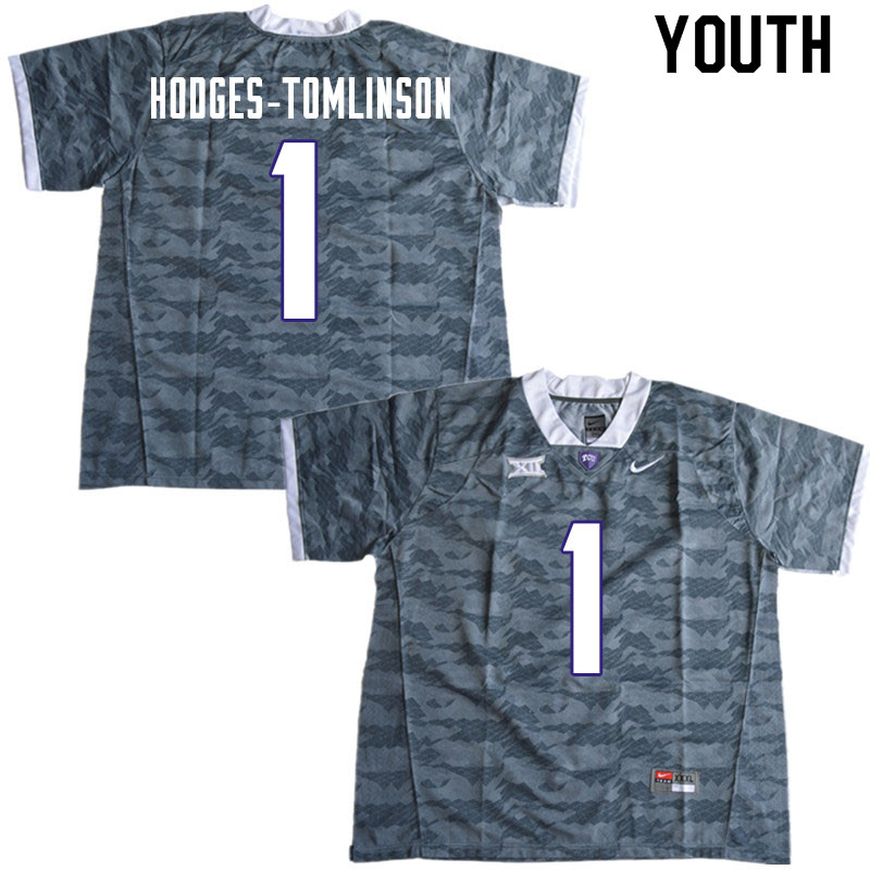 Youth #1 Tre'Vius Hodges-Tomlinson TCU Horned Frogs College Football Jerseys Sale-Gray
