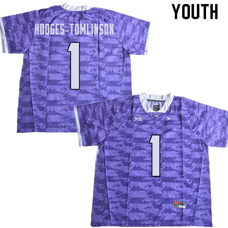 Youth #1 Tre'Vius Hodges-Tomlinson TCU Horned Frogs College Football Jerseys Sale-Limited Purple