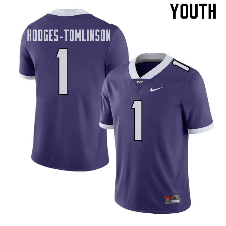 Youth #1 Tre'Vius Hodges-Tomlinson TCU Horned Frogs College Football Jerseys Sale-Purple
