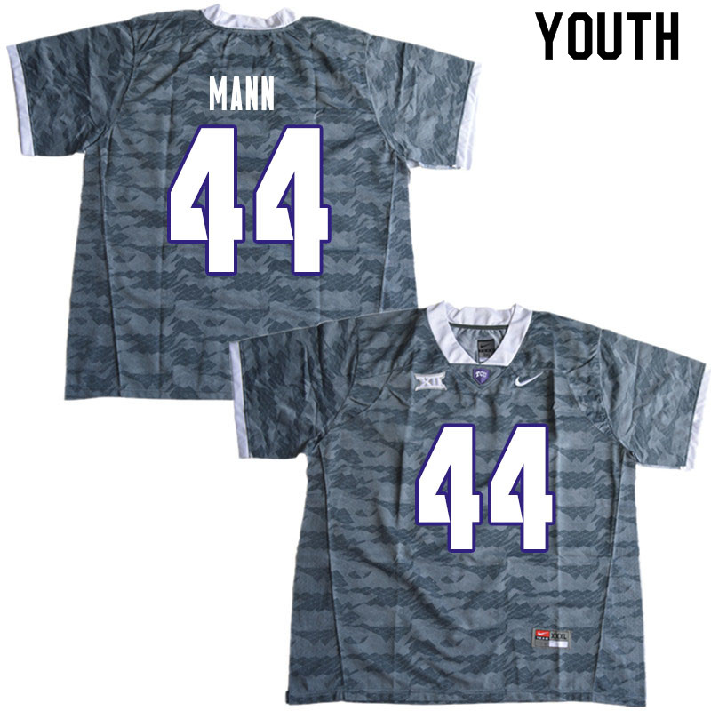 Youth #44 William Mann TCU Horned Frogs College Football Jerseys Sale-Gray