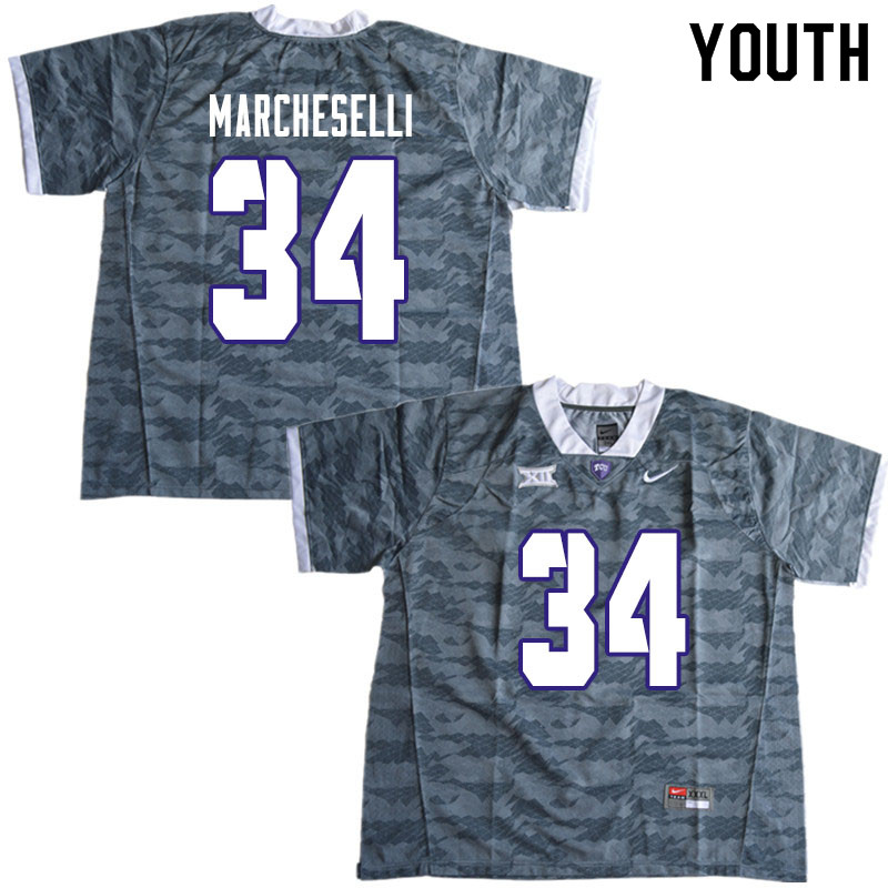 Youth #34 Zach Marcheselli TCU Horned Frogs College Football Jerseys Sale-Gray