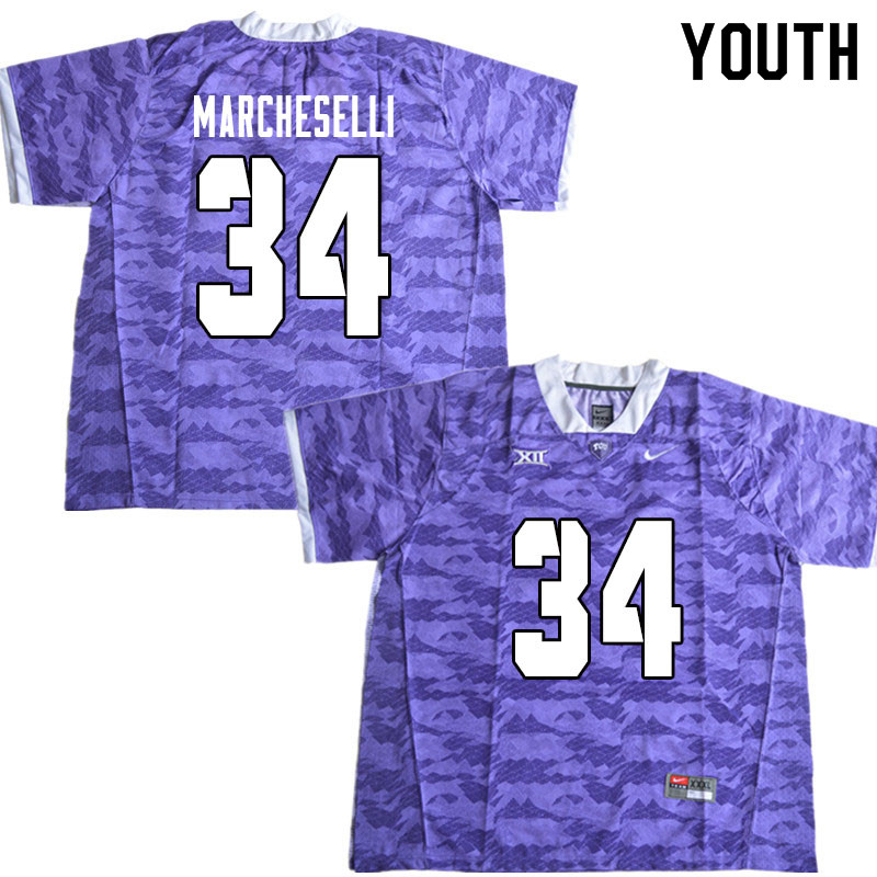 Youth #34 Zach Marcheselli TCU Horned Frogs College Football Jerseys Sale-Limited Purple