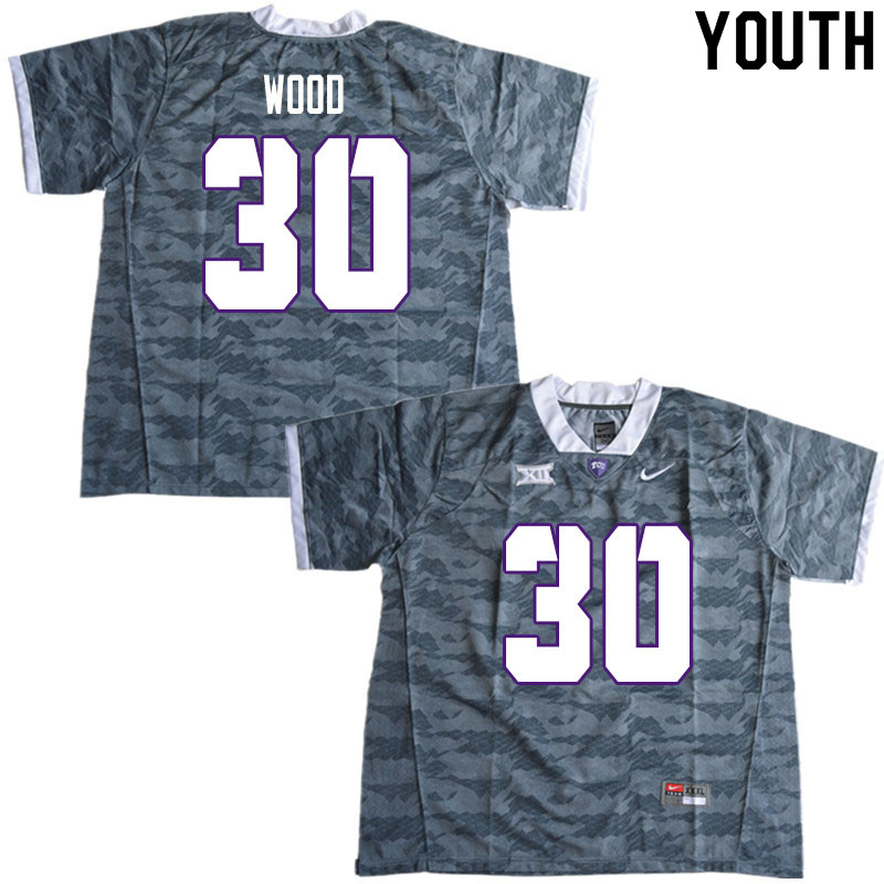 Youth #30 Alijah Wood TCU Horned Frogs College Football Jerseys Sale-Gray