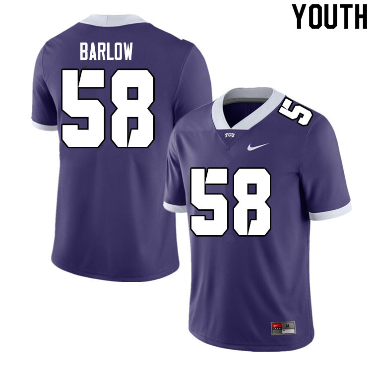 Youth #58 Altrique Barlow TCU Horned Frogs College Football Jerseys Sale-Purple