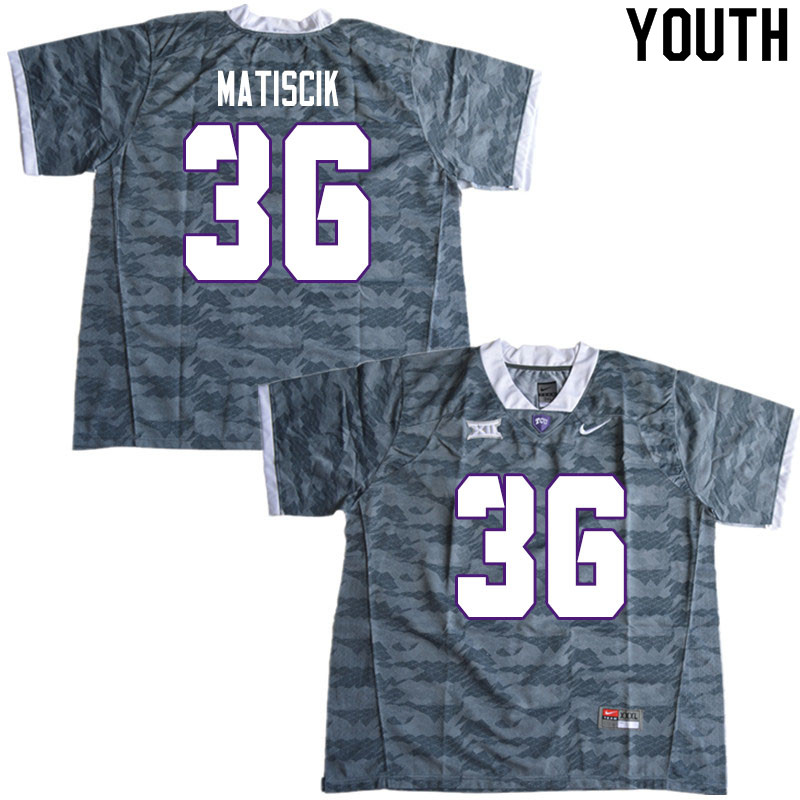 Youth #36 Brent Matiscik TCU Horned Frogs College Football Jerseys Sale-Gray