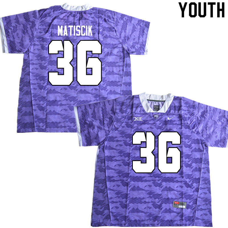 Youth #36 Brent Matiscik TCU Horned Frogs College Football Jerseys Sale-Limited Purple