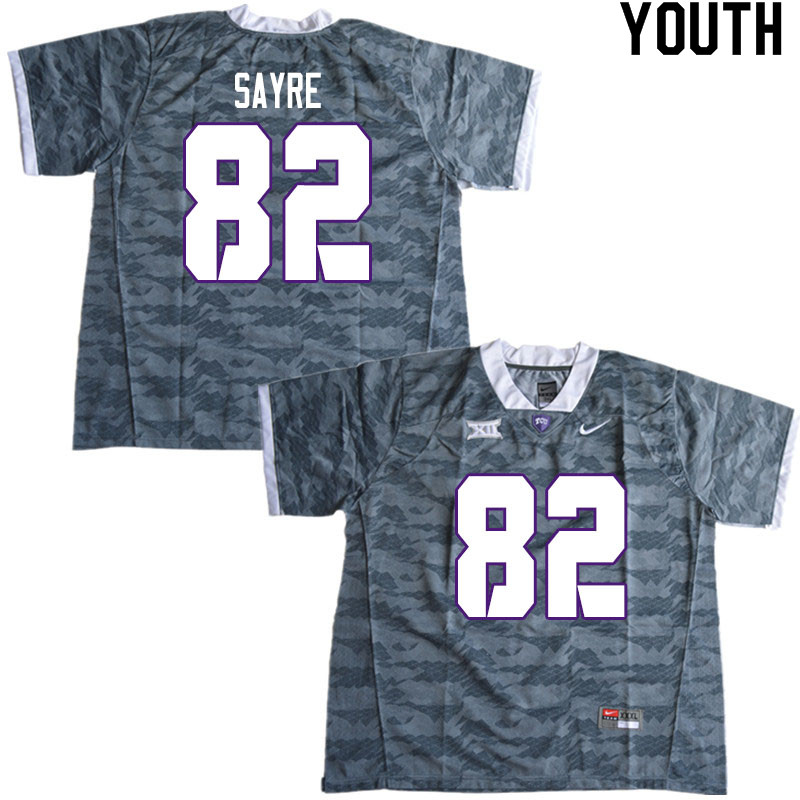Youth #82 Cole Sayre TCU Horned Frogs College Football Jerseys Sale-Gray