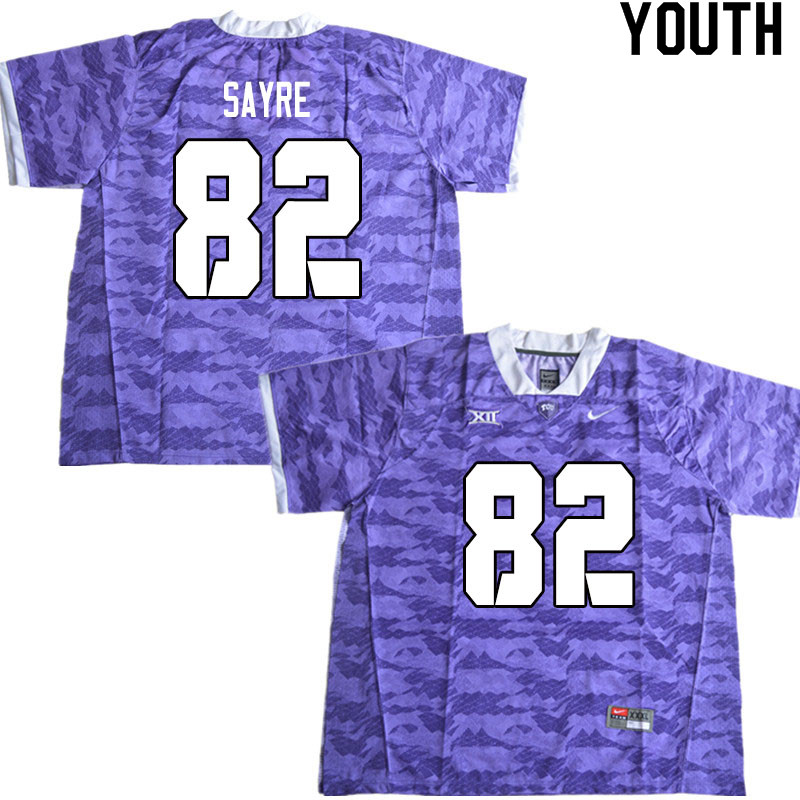 Youth #82 Cole Sayre TCU Horned Frogs College Football Jerseys Sale-Limited Purple
