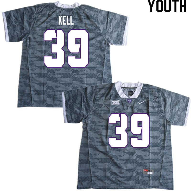 Youth #39 Griffin Kell TCU Horned Frogs College Football Jerseys Sale-Gray