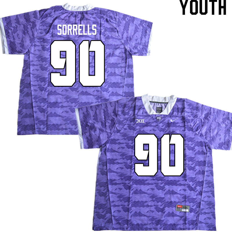 Youth #90 Jaquaze Sorrells TCU Horned Frogs College Football Jerseys Sale-Limited Purple