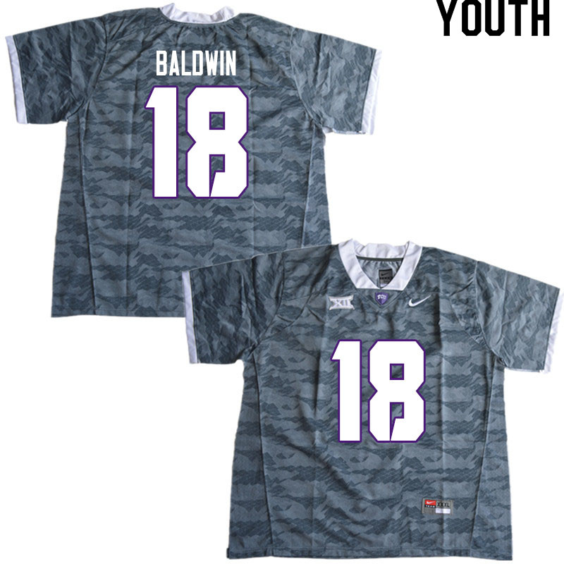 Youth #18 Matthew Baldwin TCU Horned Frogs College Football Jerseys Sale-Gray