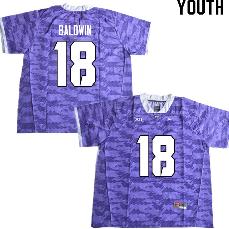 Youth #18 Matthew Baldwin TCU Horned Frogs College Football Jerseys Sale-Limited Purple