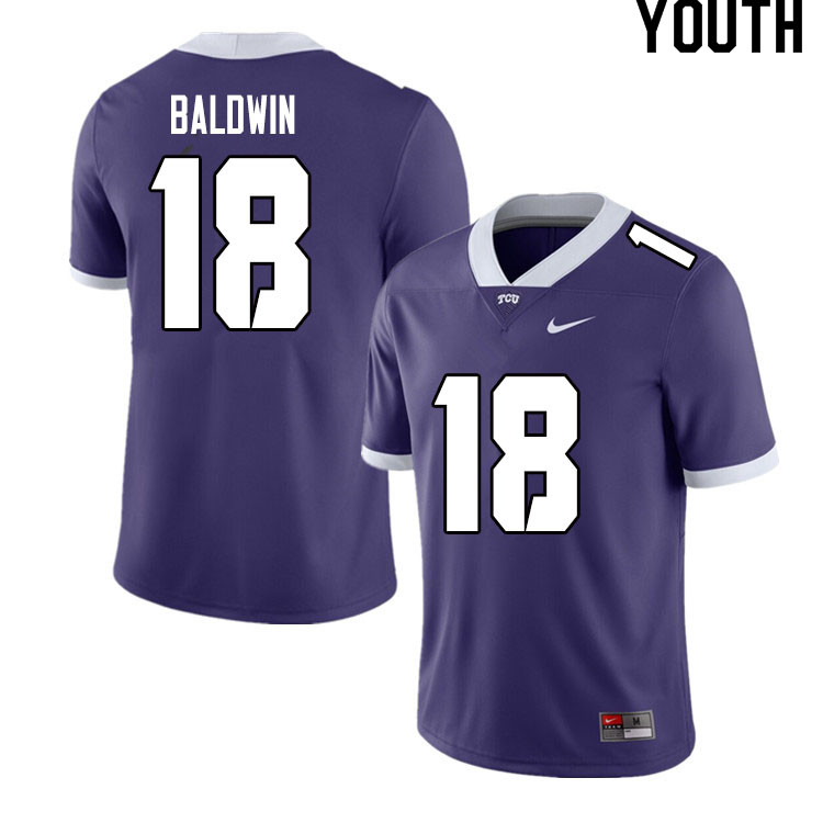 Youth #18 Matthew Baldwin TCU Horned Frogs College Football Jerseys Sale-Purple