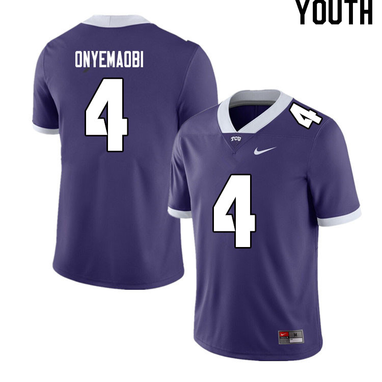 Youth #4 Michael Onyemaobi TCU Horned Frogs College Football Jerseys Sale-Purple