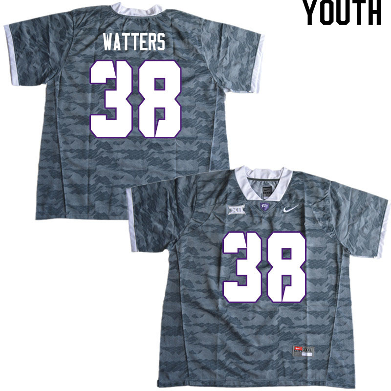 Youth #38 Payton Watters TCU Horned Frogs College Football Jerseys Sale-Gray
