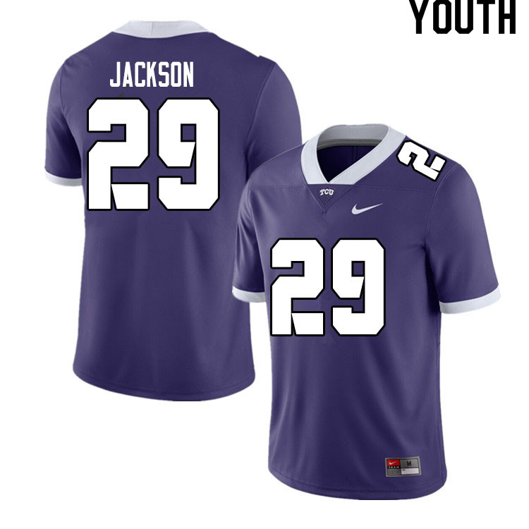 Youth #29 Sterling Jackson TCU Horned Frogs College Football Jerseys Sale-Purple