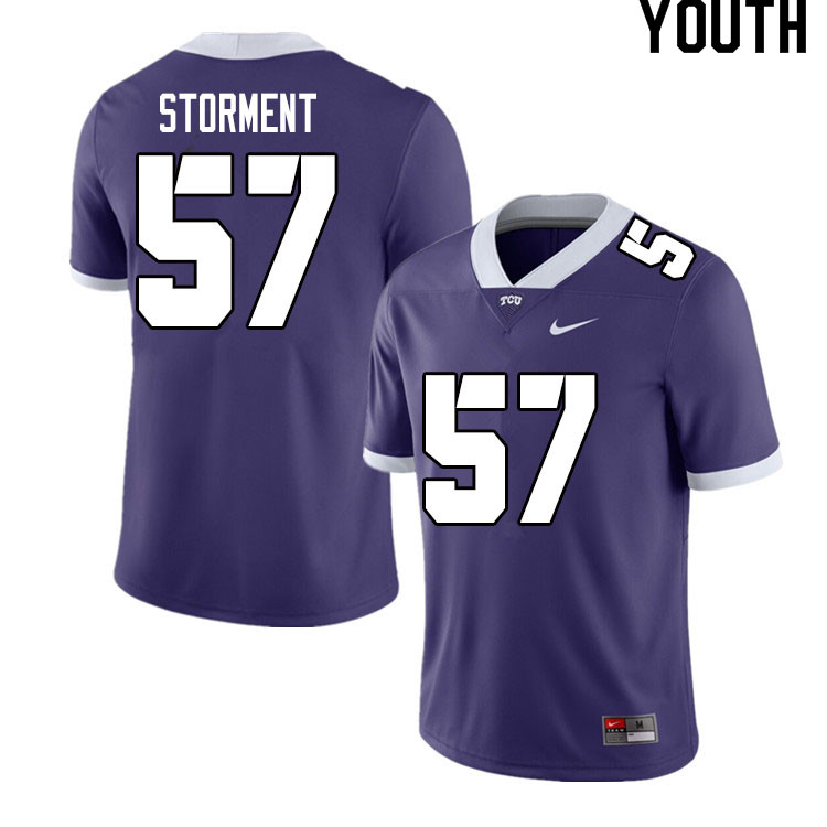 Youth #57 T.J. Storment TCU Horned Frogs College Football Jerseys Sale-Purple