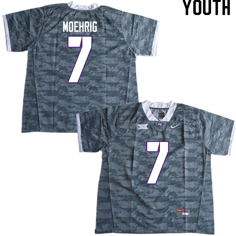 Youth #7 Trevon Moehrig TCU Horned Frogs College Football Jerseys Sale-Gray
