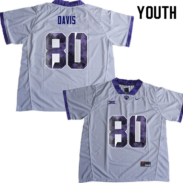 Youth #80 Al Dontre Davis TCU Horned Frogs College Football Jerseys Sale-White