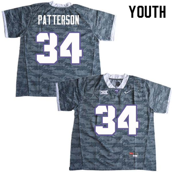 Youth #34 Blake Patterson TCU Horned Frogs College Football Jerseys Sale-Gray