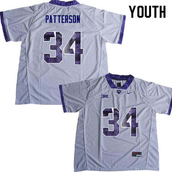 Youth #34 Blake Patterson TCU Horned Frogs College Football Jerseys Sale-White