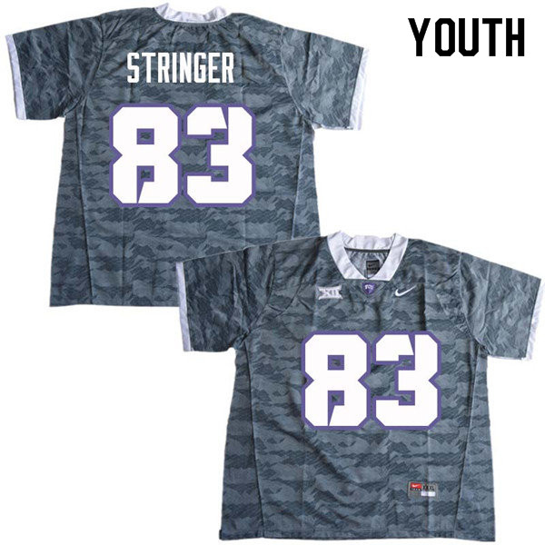 Youth #83 Brady Stringer TCU Horned Frogs College Football Jerseys Sale-Gray