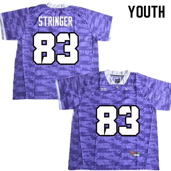 Youth #83 Brady Stringer TCU Horned Frogs College Football Jerseys Sale-Purple
