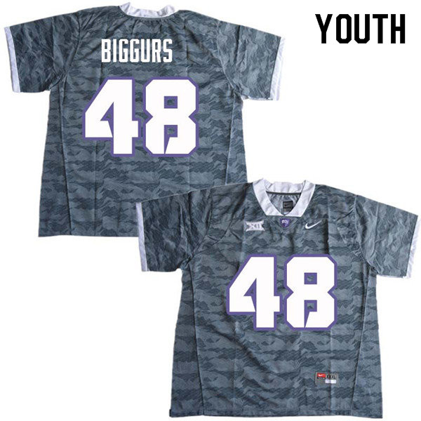 Youth #48 Caleb Biggurs TCU Horned Frogs College Football Jerseys Sale-Gray