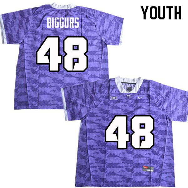 Youth #48 Caleb Biggurs TCU Horned Frogs College Football Jerseys Sale-Purple
