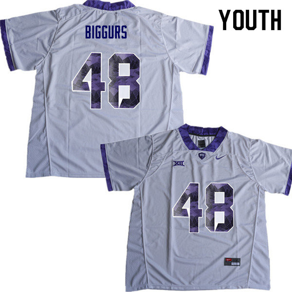 Youth #48 Caleb Biggurs TCU Horned Frogs College Football Jerseys Sale-White