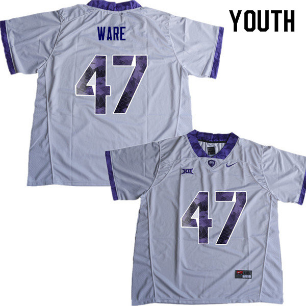 Youth #47 Carter Ware TCU Horned Frogs College Football Jerseys Sale-White