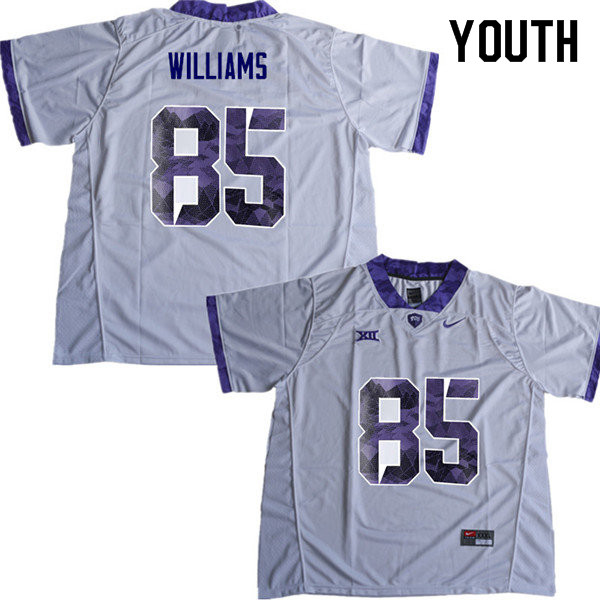 Youth #85 Christian Williams TCU Horned Frogs College Football Jerseys Sale-White
