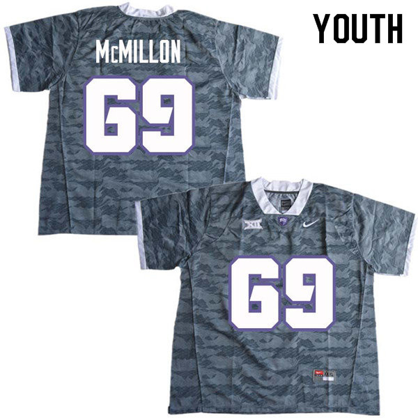 Youth #69 Coy McMillon TCU Horned Frogs College Football Jerseys Sale-Gray
