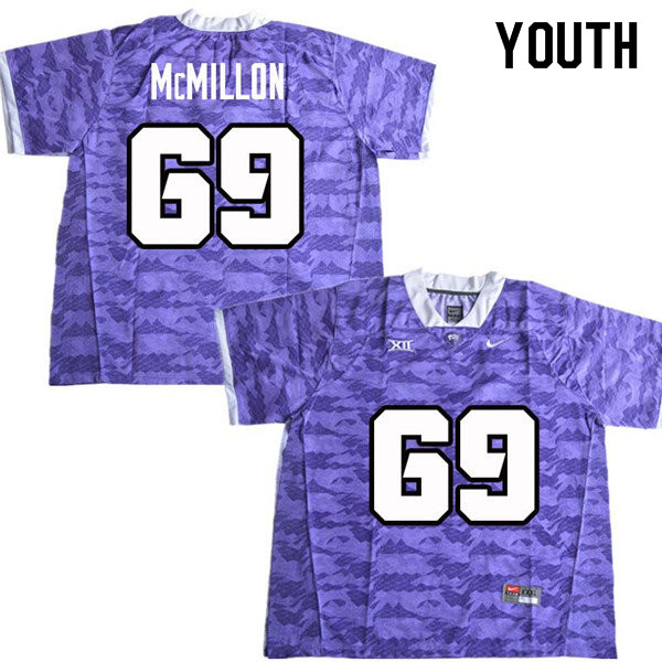 Youth #69 Coy McMillon TCU Horned Frogs College Football Jerseys Sale-Purple