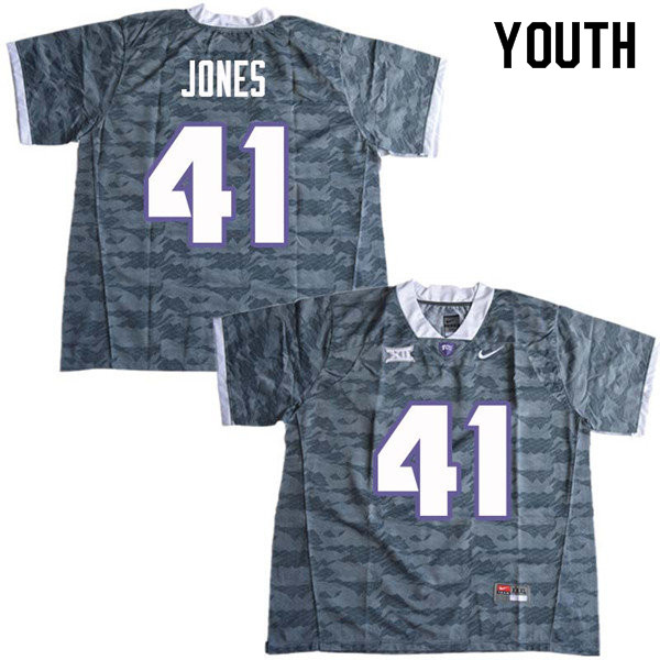 Youth #41 Dillon Jones TCU Horned Frogs College Football Jerseys Sale-Gray