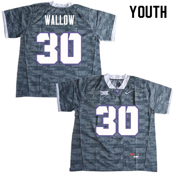 Youth #30 Garret Wallow TCU Horned Frogs College Football Jerseys Sale-Gray