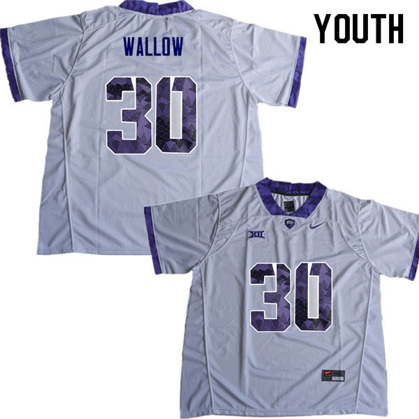 Youth #30 Garret Wallow TCU Horned Frogs College Football Jerseys Sale-White